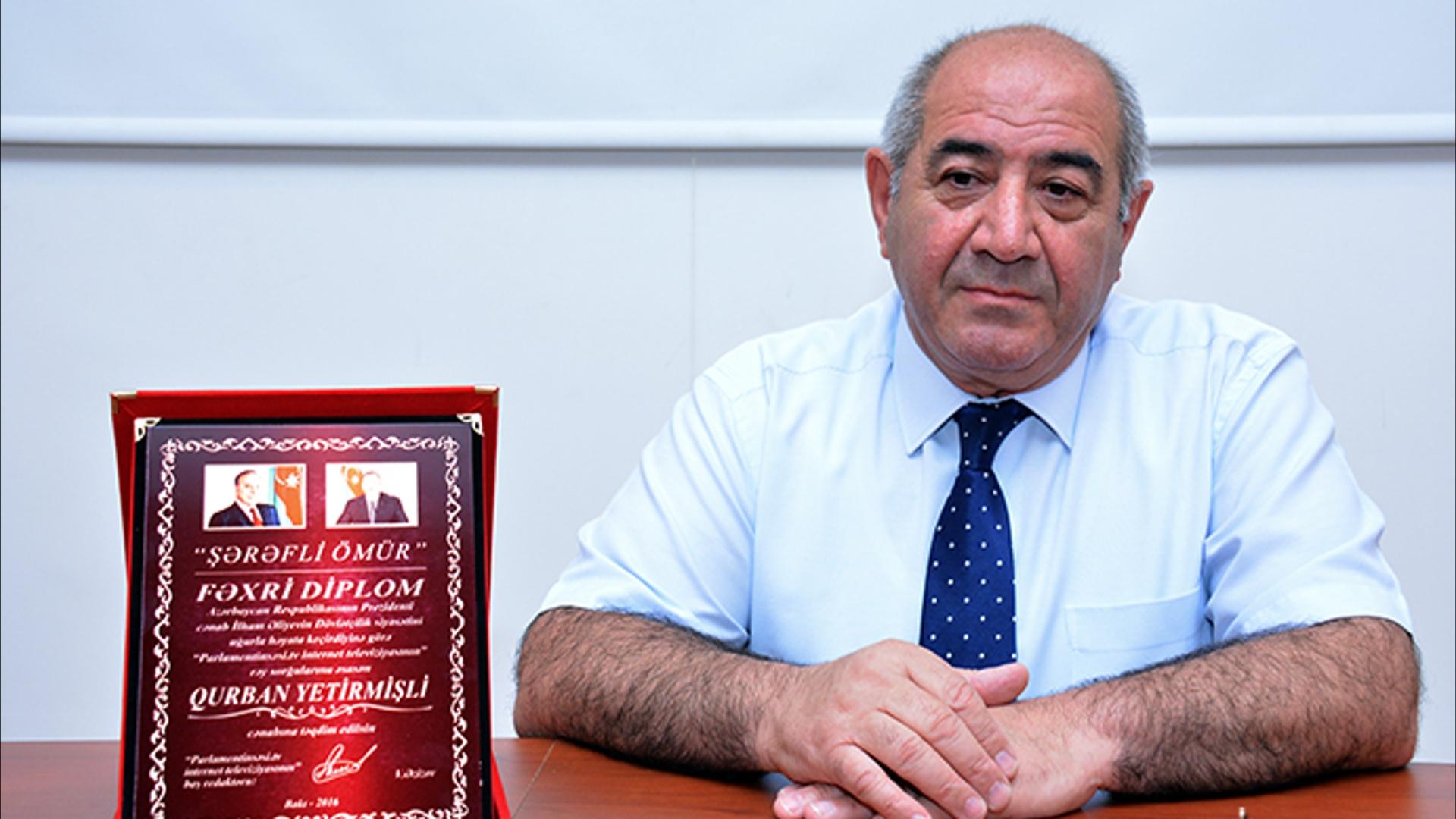 """AMEA-nın müxbir üzvü Qurban Yetirmişli """"Şərəfli ömür"""" fəxri diplomu ilə təltif edilib"""
