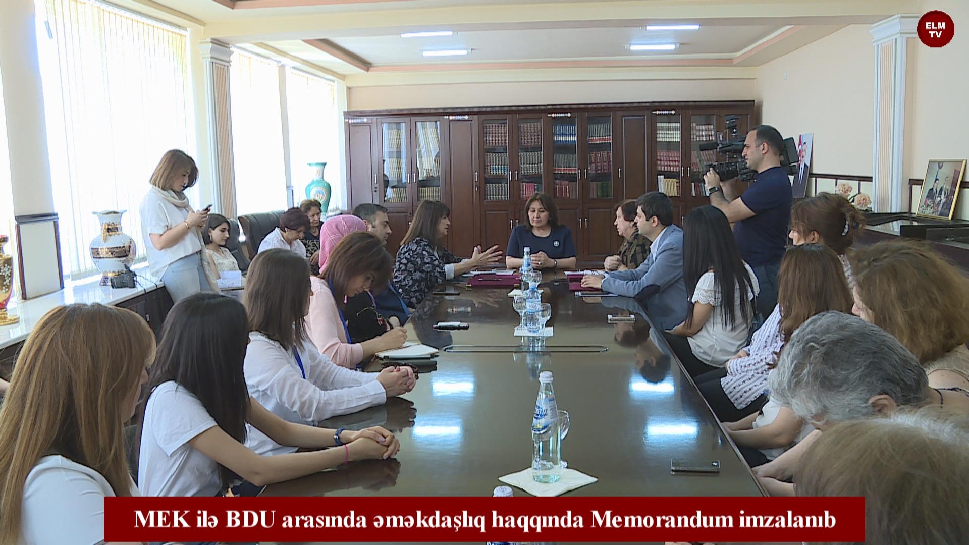 MEK ilə BDU arasında əməkdaşlıq haqqında Memorandum imzalanıb