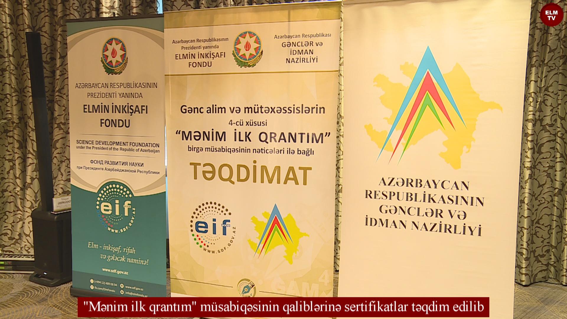 """""""Mənim ilk qrantım"""" müsabiqəsinin qaliblərinə sertifikatlar təqdim edilib"""